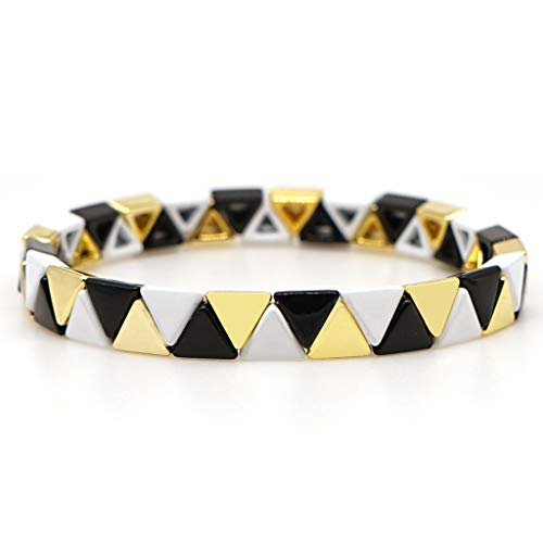 Buwei Bohemian Elastic Stretch Colorful Tile Smalto Charm Braccialetto Gioielli impilabili