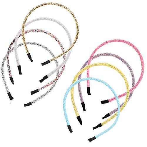 8 Pezzi Cerchietti Glitter per Capelli, Cerchietti Colorati per Capelli, Cerchietti di Plastica per Donna, Multicolore Hairbands Accessori, Usato per Bambine e Ragazze (8 Colori)