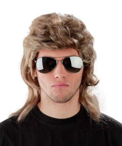 Foxxeo 50004 - Set da 3 pezzi Parrucca con taglio mullet anni '80 + occhiali da pilota a specchio + collana