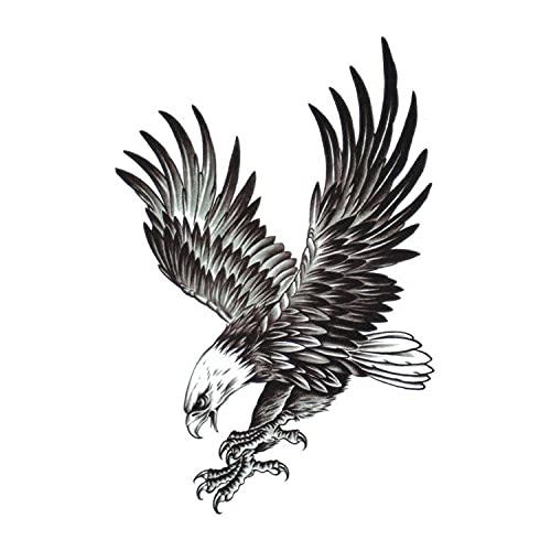 Diiya Tatuaggi Temporanei 3 Fogli Impermeabile Aquila Piuma Rondine Tatuaggi Temporanei 3D Farfalla Fiore Falso 2Pc Eagle Tattoo Sticker Photo Color