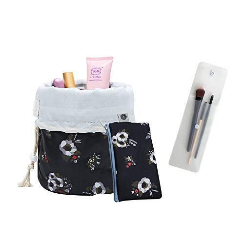 Andiker Multifunzionale Borsa di Cosmetici da Viaggio per Donne, Leggera Beauty Case con Coulisse, Borsa da Toilette da Viaggio per Make Up Organizer (nero, fiore)