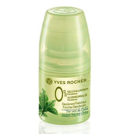 Yves Rocher – fresco deodorante al tè verde dalla Cina: 0% sali di alluminio, 0% parabeni