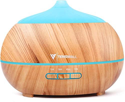 Tenswall 500ml Diffusore di Oli Essenziali con Telecomando, Ultrasuoni Umidificatore Diffusore di Aromi con 7 Colori LED per Yoga, Spa, Ufficio, Casa