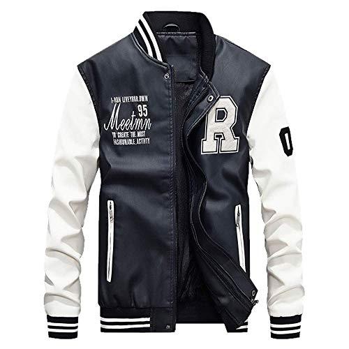 Mens Autumn Winter Jackets Casual Stand Collar Long Sleeve Zipper Leather Plus Velvet Jacket Tops Outwear Coat M-4XL