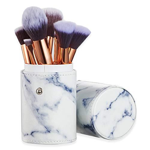 Ruesious 10PCS pennelli da trucco con marmo marmo, porta spazzolino, per cipria in polvere, Contour, paralume, evidenziatore, ombretto e fondotinta