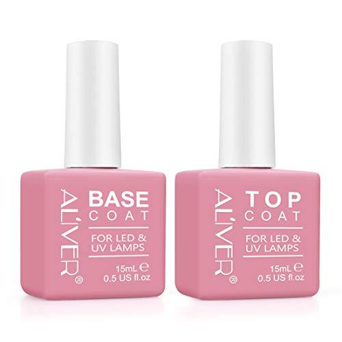 Set Top Coat e Base Coat in Gel Senza Salviette (2 x 15 ml) - Set Manicure Lacca Smalto per Smalto per Smalto LED UV Soak Off