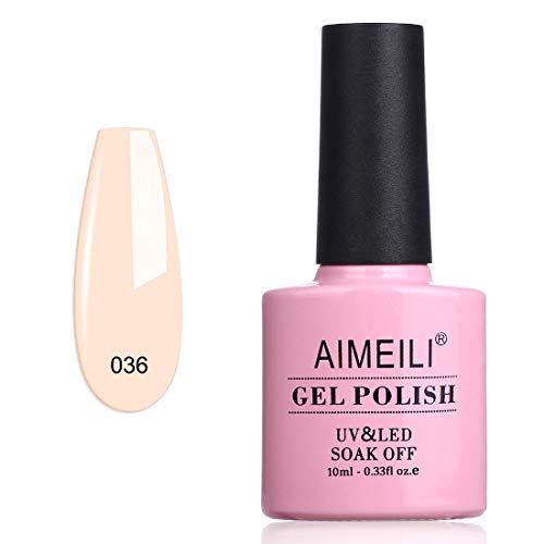 AIMEILI Smalto Semipermente per Unghie in Gel UV LED Smalti per Unghie Colori per Manicure Nudo - Soft Pink (036) 10ml