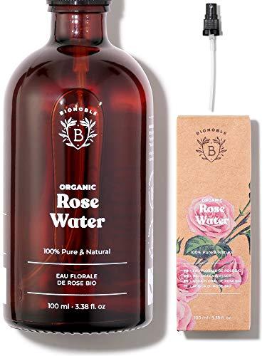 ACQUA DI ROSE BIO | Idrolato di Rosa Damascena 100% Puro e Naturale | Senza Alcool Aggiunto, Senza Conservanti | Viso, Contorno Occhi, Corpo, Capelli | Rose Water | Bottiglia di Vetro + Spray (100ml)