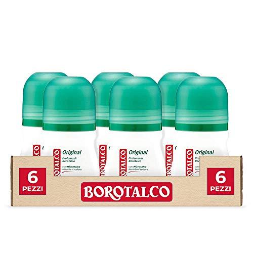 Borotalco Deo Roll-On Originale, Profumo di Borotalco, 50 ml, 6 Pezzi