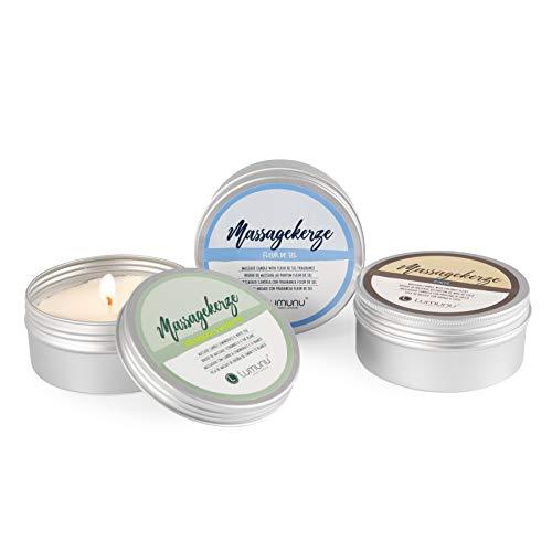 Set di candele da massaggio Deluxe MASSAGEGLÜCK, 3 candele erotiche al profumo di cocco, fior di sale e citronella con tè bianco