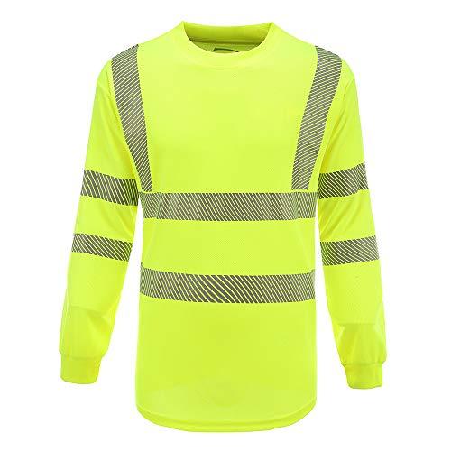 AYKRM t Shirt a Maniche Lunghe Tecnica da Lavoro Alta visibilità Giallo Arancione Fluo (XL, Giallo)