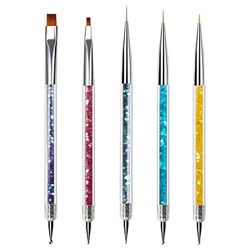 5 Pezzi Pennelli Unghie Art Professionali Per UV Gel Liner Pittura Pennello,Pennelli Unghie Doppia Testa per Nail Art,Decorazioni Unghie Penne,Set di strumenti per unghie