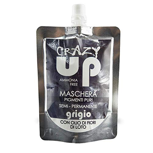 Crazy Up Maschera Colorante Senza Ammoniaca Semipermanente per Capelli - Grigio - 200 ml