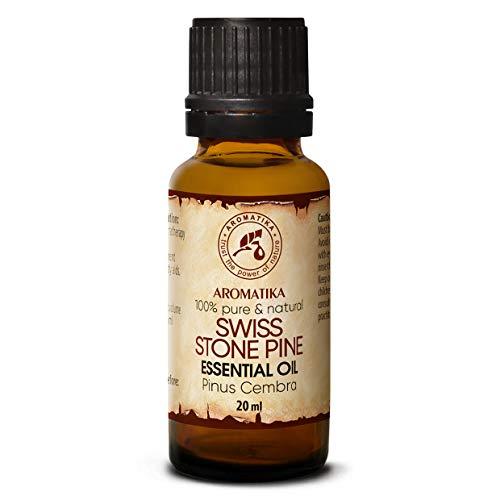 Olio Essenziale di Pino Svizzero 20ml - Pinus Cembra - Svizzera - 100% Puro & Naturale Olio di Pino - Ideale per la Bellezza - Salute - Capelli - Viso - Corpo