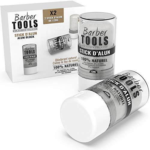Barber Tools Confezione da 2 Bastoncini Deodoranti Contro i Tagli da Rasatura da Pietra di Allume Senza Parabeni o Alluminio Cloridrato, 120 gr