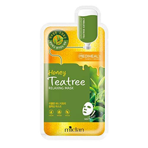 [Miclan] Honey Teatree Relaxing Mask 10pcs - Maschera per il viso della linea Mediheal, per idratare, lenire e purificare la pelle, con tea tree e miele.
