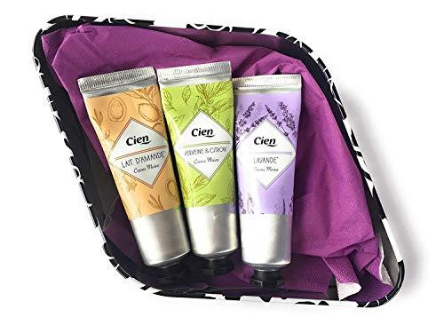 CIEN - 3 crema per le mani alla lavanda + erba di ferro e limone + latte di mandorle da 30 ml in confezione regalo decorativa