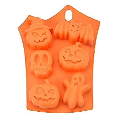 Stampo per Torta in Silicone di Halloween,Pipistrello a 6 Fori Zucca Faccia Teschio Fantasma Silicone Zucchero Artigianale Stampo da Forno per Dolci Dessert Candela Che Fa per la Festa di Halloween