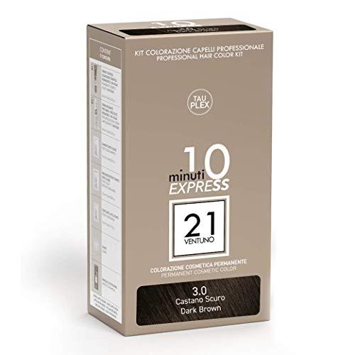 21 VENTUNO Tinta per Capelli senza Ammoniaca Professionale fai da te Copertura Capelli Bianchi in 10 minuti Senza Parabeni e Ammoniaca Colore Castano Scuro 3.0 MADE IN ITALY