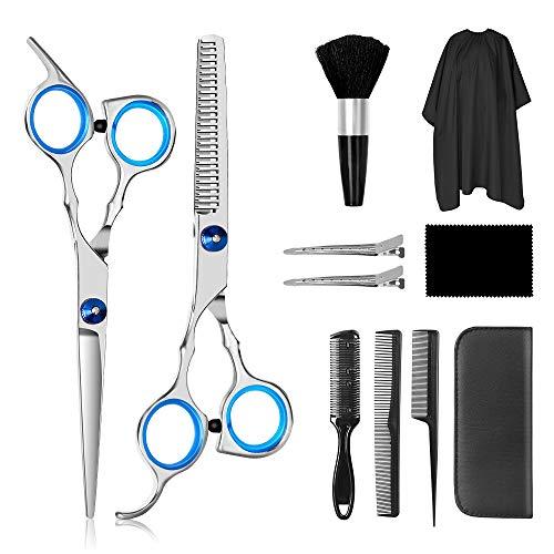 Forbici Parrucchiere Professionali, Barley Direct 11PCS Acciaio Inossidabile Forbici Parrucchiere Set Forbici da Barbiere con Cappotto da Barbiere e Pettine da Rasoio pour Barbiere o Uso Domestico