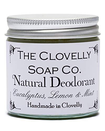 Clovelly Soap Co Balsamo Deodorante Naturale e Fatto a Mano all'Eucalipto, Limone & Menta, Barattolo di Vetro da 60gr