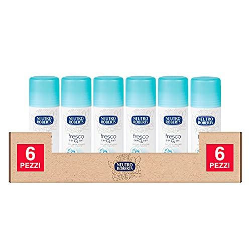 6x Neutro Roberts Deodorante Stick Fresco Blu Efficace 48h Senza Sali di Aluminio - 6 Flaconi da 40ml ognuno