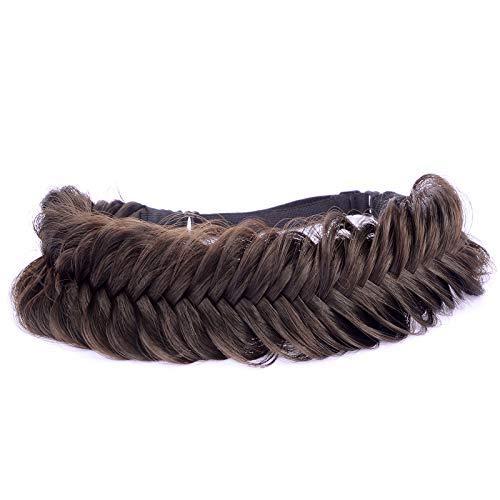 BOBIYA - Fascia per capelli sintetici a coda di pesce, con trecce intrecciate e trecce elastiche, accessorio di bellezza per donne e ragazze (marrone brunetta)