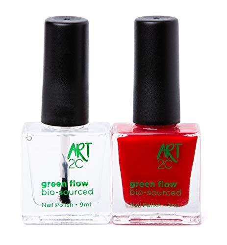 Art 2C, smalto per unghie vegan e bio 85% brevettato, ultra-puro, 2 x 9 ml - 1 Base/Top Coat + 1 colore rosso