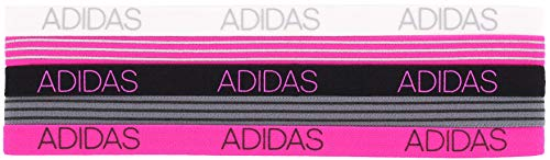 Adidas, 5 fasce per capelli Creator, grigio/bianco/nero/rosa shock, taglia unica