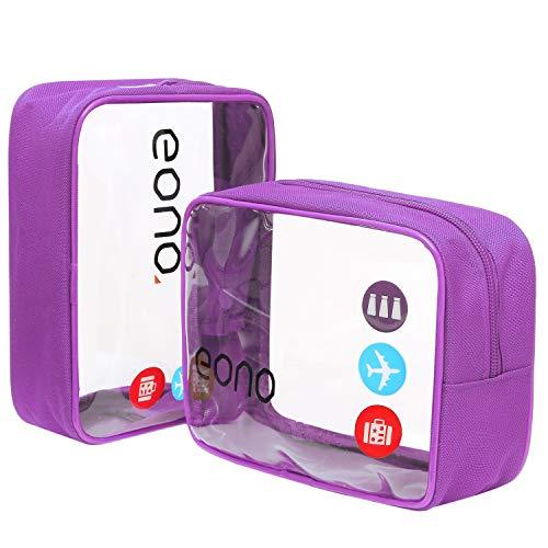 Amazon Brand - Eono Beauty Case da Viaggio Clear Borsa da Viaggio Impermeabile Cosmetici Trasparente Toiletry Bag Kit da Aereo per Liquidi Sacchetti di Trucco per Uomini e Donne - Porpora, 2-Pcs