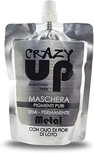 Crazy Up Maschera Colorante Senza Ammoniaca Semipermanente per Capelli - Metal - 200 ml