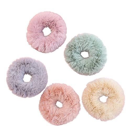 LURROSE - Elastico per capelli, in pelliccia di coniglio, 5 pezzi
