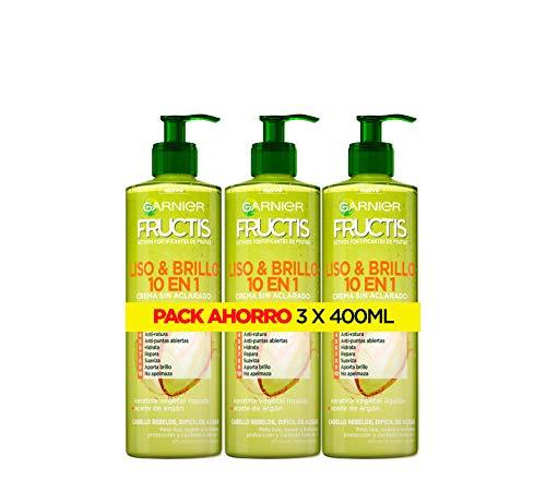 Garnier, Fructis Liso & Brillo, Crema 10 in 1 non colorata per capelli lisci, ribelli e stiranti, confezione da 3 X 400 ML