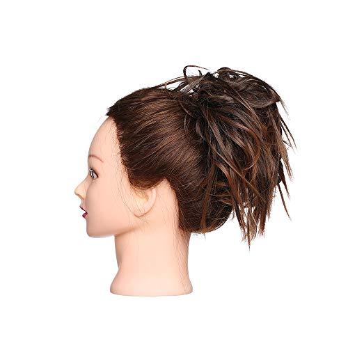 Elailite Chignon Capelli Extension Elastico Finti Posticci Ricci Messy Hair Bun Updo Ponytail Extensions Coda di Cavallo Ciambella 45g, Castano Ramato Chiaro mix Marrone Cioccolato
