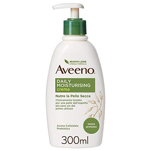 Aveeno, Crema Idratante Corpo, Daily Moisturizing, per Pelli Normali e Pelli Secche, Avena Colloidale Prebiotica, Senza Profumo, 300ml