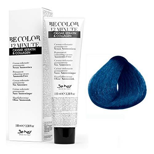 BeColor 12 Minute - Crema Colorante Permanente per Capelli senza Ammoniaca - Correttore Blu - 100 ml - BeHair