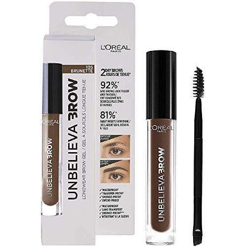 L'Oréal Paris Unbelievabrow, Gel per Sopracciglia a Lunga Tenuta Waterproof, Colore Brunette (105), 3.4 ml