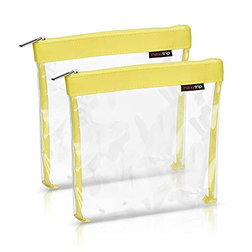 nex trip Set di 2 beauty case trasparente per liquidi e bagaglio a mano, borsa per cosmetici per aereo, set da viaggio