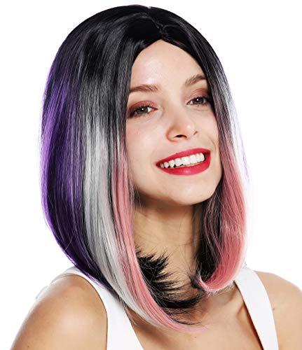WIG ME UP - ZM-1769-Colorful Parrucca donna Corta Liscia Bob lungo Riga in mezzo Ombre hair Nero Lilla Rosa Biondo Colorata Mèches