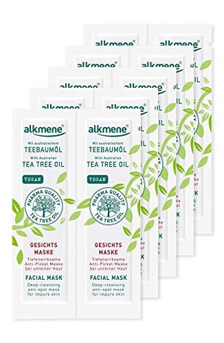 alkmene Tea Tree Oil Anti Pimple Face Mask - Maschera viso penetrante e profonda per pelli impure - pulizia viso vegana - maschere viso in confezione da 10 (10x 6 ml)