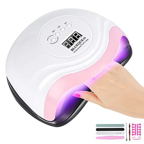 Aischens Lampada per unghie a LED UV 168W, luce per smalto gel professionale per asciuga unghie, Sensore Di Avvio Automatico con 4 Timers da 10s/30s/60s/99s, Display LED, adatto a tutti i gel