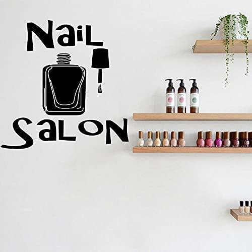 KDSMFA Nail Salon Wall Sticker Manicure Decalcomania in vinile Smalto per unghie Arte murale Decorazione camera da letto per ragazze 57x57cm