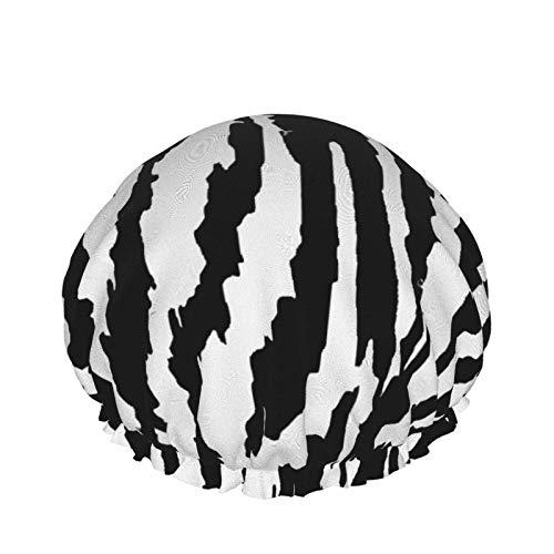 Cuffia da doccia Tiger Black White Animal Cuffia da bagno elastica a doppio strato impermeabile per uso domestico Berretto da notte