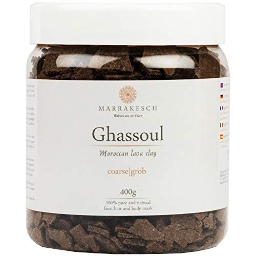MARRAKESCH Ghassoul Rhassoul Granuli 400g | Maschera viso di argilla originale marocchina per la pulizia del viso | Peeling naturale per viso pelle e capelli | Argilla per la cura del corpo