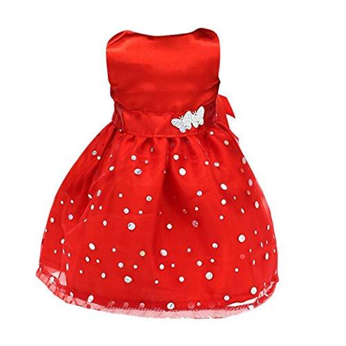 Partito senza maniche moda di promenade di vestiti del vestito per 18 pollici Dolls Ragazze necessità quotidiane Red