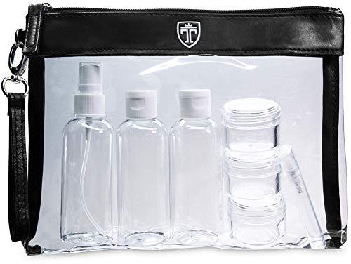 TRAVANDO ® Set da viaggio trasparente con 7 contenitori - Kit da aereo con bottiglie da viaggio - Contenitori per liquidi-Busta da viaggio, Set flaconi per cosmetici, Beauty case trasparente, Trouss-