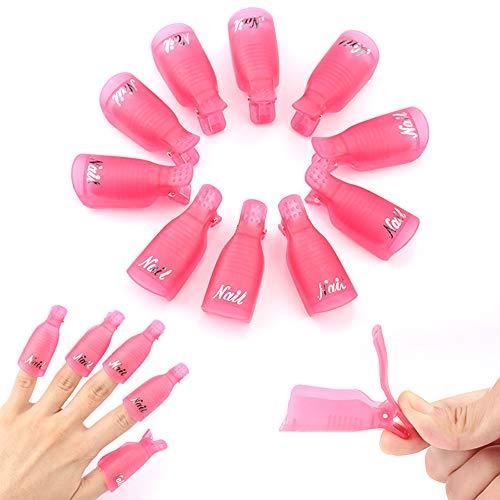 Ealicere 10 Pezz Nail Art Clip in acrilico, Clip di Rimuovere Cap UV Gel, semipermanente e soak off, per Strumento di Remover