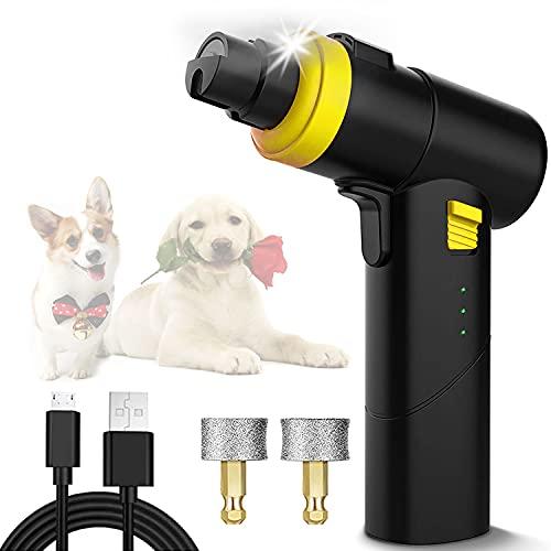 DIWUJI Tagliaunghie Elettrico per Cani Gatto con Luce, Indolore Smerigliatrice Set per Unghie, 2 Testine Macinaunghie per Cani, Ricarica USB Silenzioso Smerigliatrice per Le Unghie per Animali