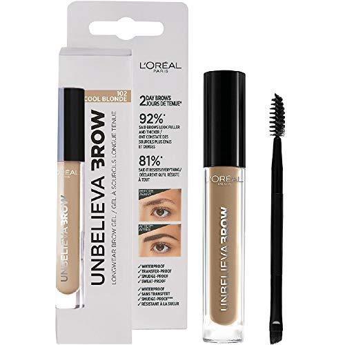 L'Oréal Paris Unbelievabrow, Gel per Sopracciglia a Lunga Tenuta Waterproof, Colore Cool Blonde (102), 3.4 ml