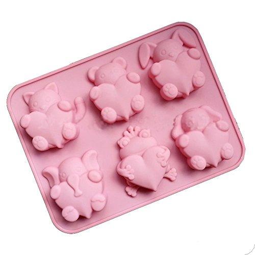 Caolator - vassoio in silicone, con 6 stampini a forma di animaletti e cuore, ideali anche per realizzazione di cioccolato, budino, gelatina, candele per aromaterapia, sapone per mani